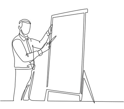 One continuous line drawing of young manager writing business success formula on flip chart and share it to audience. Business training concept single line draw design vector illustration