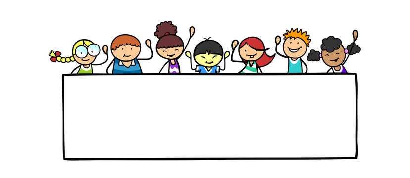 Internationale Kinder winken hinter Rahmen Header