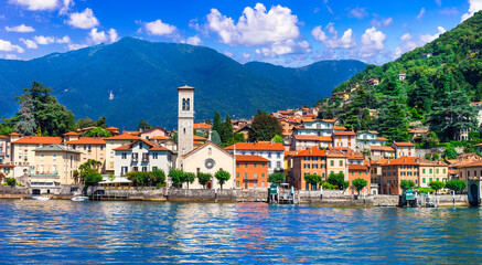 idyllic scenery of beautiful lake Lago di Como, Torno village. Lombradia, Italy