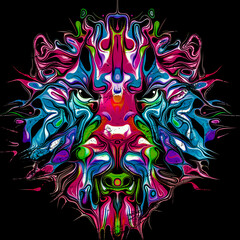 lion head with creative abstract element