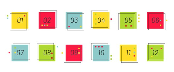 Modern geometric bullet point set. Colorful trendy square markers with number from 1 to 12.