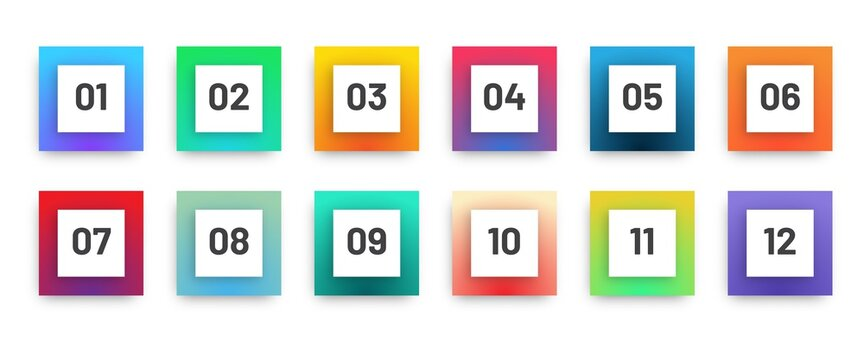 Modern square bullet points set 1 to 12. Colorful gradient web icons template.