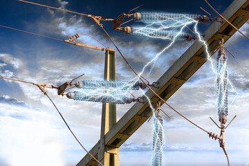 High Voltage Power Line Connection with lightnings. Electrical connection of a very high voltage transformer to produce electricity