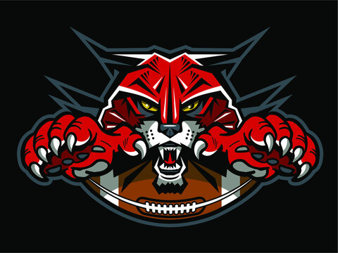 wildcats football team design with half ball and mascot for school, college or league