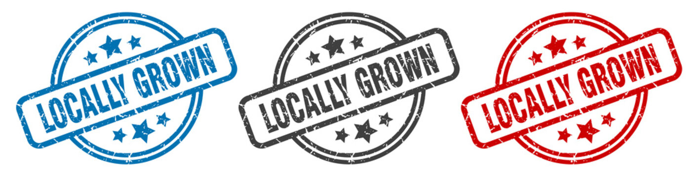 locally grown stamp. locally grown round isolated sign. locally grown label set