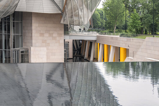 Modern architecture of Louis Vuitton Foundation (2014). Louis Vuitton Foundation - art museum and cultural center. Fragments of Louis Vuitton building design. PARIS, FRANCE. June 11, 2018.