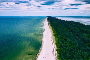 Chalupy Beach Aerial View. Hel Penisula from Above. Baltic Sea, Pomerania, Poland.