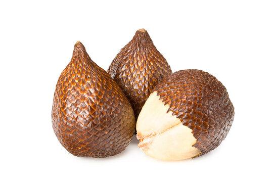 Salak or snake fruit isolated on white background