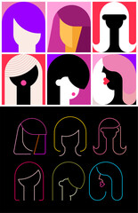 Six Faceless Portraits of Women modern art vector illustration. Composition of different abstract images of female face. + Neon colors isolated on a black background Six Faceless Avatars of Women.