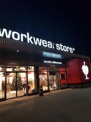 OBERHAUSEN, NRW, GERMANY - DECEMBER 10, 2019:  Entrance to Engelbert Strauss' workwear store of the company for workwear and workwear in Oberhausen