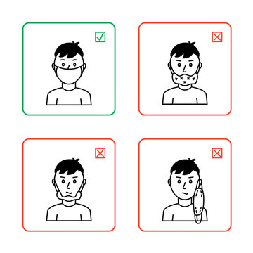 The right and wrong way to wear a face mask. Black and white icons. In green and red frames.