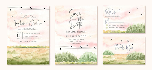 Printed kitchen splashbacks White wedding invitation set with green field watercolor landscape