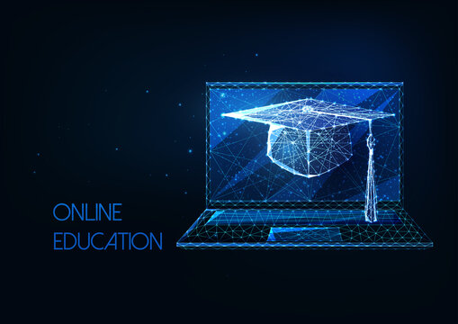 Futuristic online education, distance learning concept with glowing low polygonal graduation cap and laptop