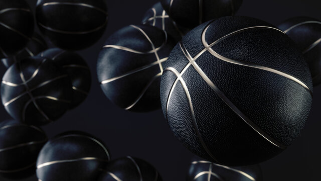Many black basketball balls with Gold Metallic Line in an endless pile seen from the front. Dark background. Futuristic sports concept. Close-up. Depth of field. 3d rendering