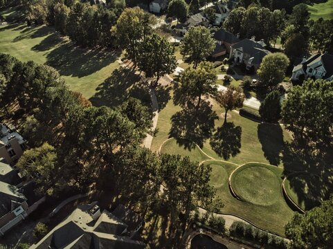 Panoramic view of a Golf course in an upscale suburbs of Atlanta, GA taken by a drone