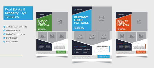 Creative and clean real estate flyer for real estate and property  business  with 3 color variation template