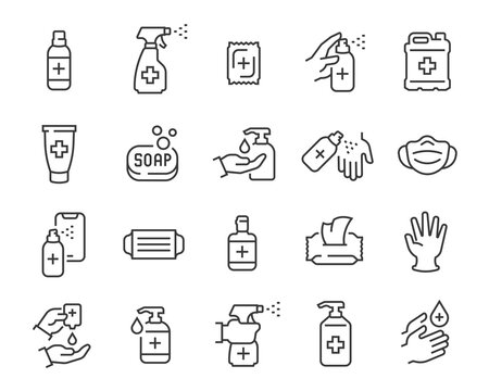 Antiseptics and Antivirus Protection Icon Set. Collection of linear simple web icons such as Anti-Virus Protection, Disposable Gloves and Masks, Soap, Wet Antibacterial Wipes, Antiseptic, Hand and