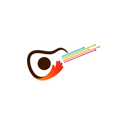 Guitar logo, Guitar instrument simple logo design inspiration