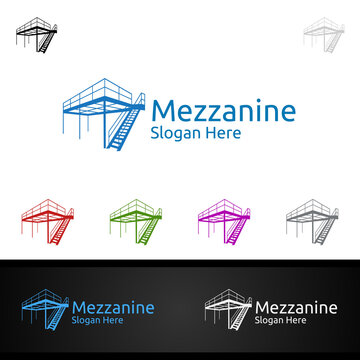 Mezzanine Flooring Logo for Parquet Wooden or vinyl hardwood granite tile vector Design