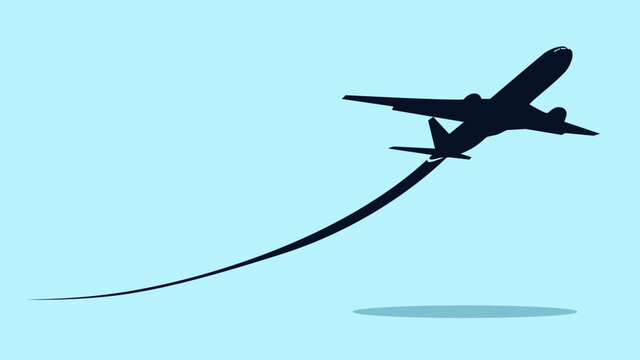 Airplane symbol.Flying up airplane icon.Takeoff plane symbol.Vector illustration