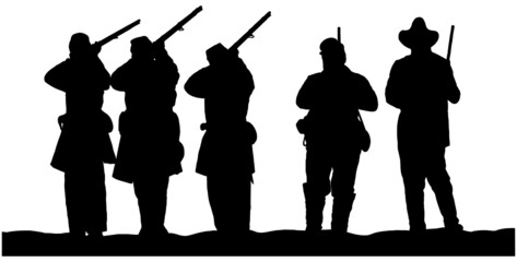 vector silhouettes of American Civil War Soldiers