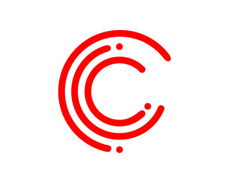 C letter with circle red line