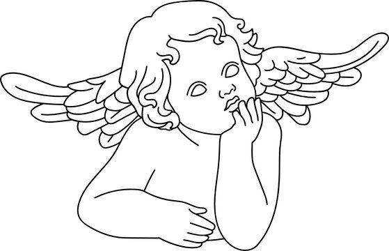 minimalist line art of a child baby cherub angel with wings