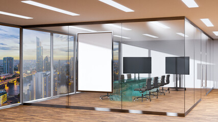 Conference room with glass panel on wooden floor 3D rendering