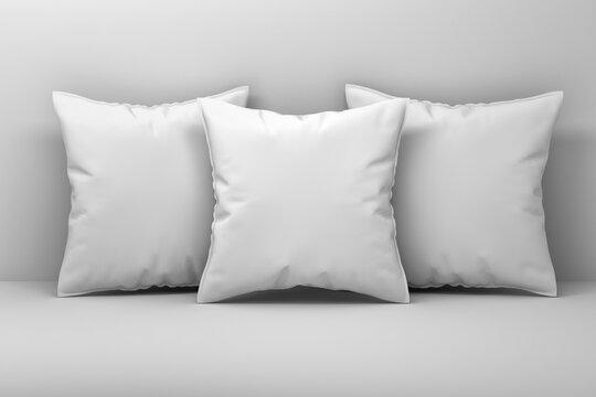 Closeup mockup of three large sleeping blank pillows on white background