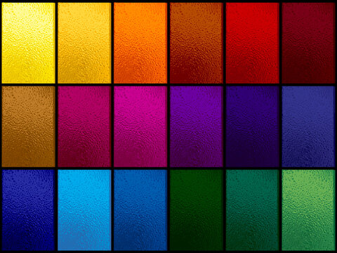 Colorful stained glass window set on black
