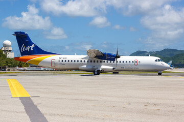 LIAT ATR 72-600 airplane Sint Maarten airport in the Caribbean
