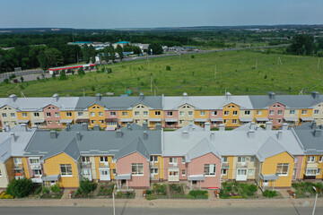 Aerial view of the townhouse of different colors in Russia