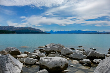 Lake Pukaki with Mt Cook in the Distance, South Island, New Zealand