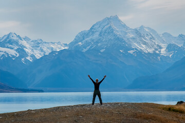 View of Mt Cook from Lake Pukaki, South Island, New Zealand
