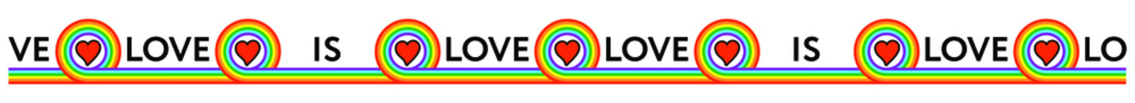 Love is love, 14 february, valentines day. Happy Pride day. Gay rainbow LGBT flag background. Homosexual texture. Banner, frame. It is located below on a white sheet of paper. Place for text.