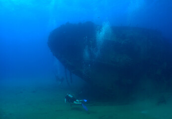 Acrylic Prints Shipwreck underwater ship wreck caribbean sea Aruba