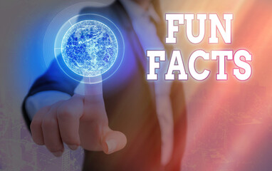 Text sign showing Fun Facts. Business photo text short interesting trivia which contains pieces of information Elements of this image furnished by NASA