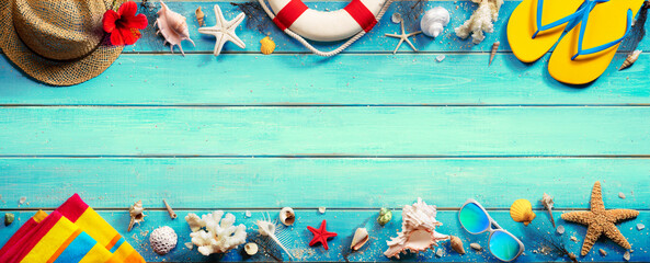 Beach Accessories On Green Blue Plank - Vacation Banner