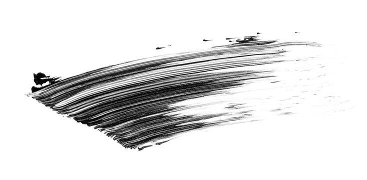 Black mascara or paint brush stroke isolated on white background