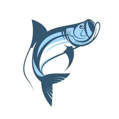 jumping tarpon fish logo template vector illustration