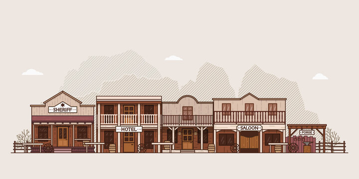 Wild west town landscape. Old western themed background for your projects. Colorful vector illustration.