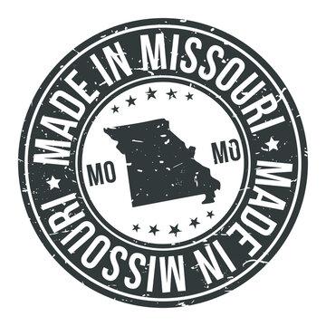 Made in Missouri State USA Quality Original Stamp Design Vector Art Tourism Souvenir Round