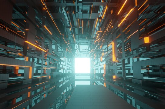 3D illustration of a sci-fi hallway architecture. Futuristic and technological design of a corridor in space. Cyberpunk styled hall interior.