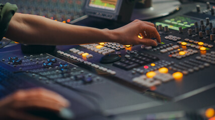 Audio Engineer, Musician, Artist Works in the Music Record Studio, Control Desk Mixer. Hands...