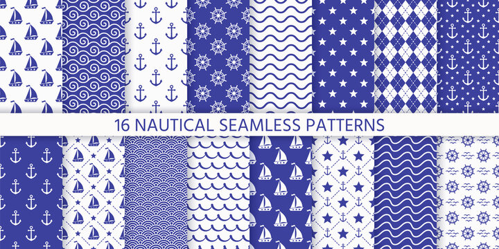 Nautical seamless pattern. Sea navy blue backgrounds with yacht, anchor, star, waves, wheels. Vector. Set marine summer textures. Geometric print for baby shower, scrapbooking. Monochrome illustration