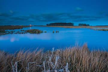 Wall Mural - View of lake at blue hour