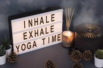 Inhale exhale message relaxation background concept suggesting yoga time