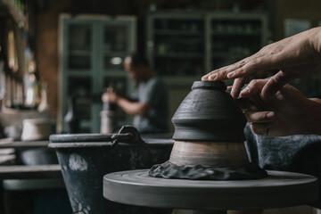 Fototapeta Artisan potter making art pot handicraft obraz