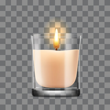 Burning Candle in a glass jar on a transparency background. Vector icon.