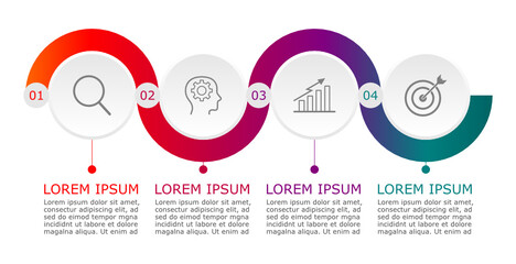Business infographic Vector with 4 steps. Used for presentation,information,education,connection,marketing, project,strategy,technology,learn,brainstorm,creative,growth,abstract,stairs,idea,text,work. Wall mural